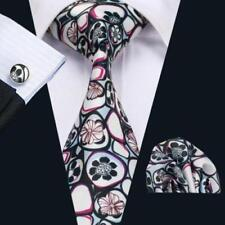 LUXURY GIFT SET > Mens White Black Floral Silk Tie Handkerchief Hanky Cufflinks