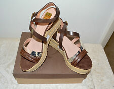 NIB $200 KANNA Leather Python Rope Platform Wedge Sandals Tan 41 US10