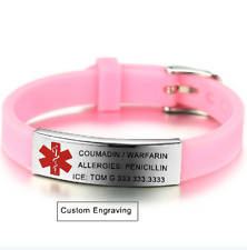Free Engraving Women Kids Child Medical Alert ID Tag Bracelet ICE Silicone Pink