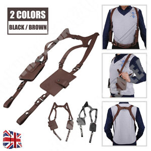 Black Brown Leather Anti-theft Hidden Underarm Holster Shoulder Wallet Phone Bag