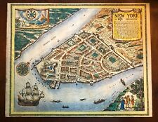 Hand colored map of New Amsterdam - 1674