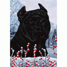 Winter House Flag - Black American Pit Bull Terrier 15407