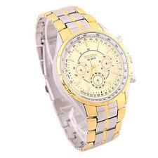 Men's Luxury Date Gold Dial Stainless Steel Analog Quartz Wrist Watches Fashion
