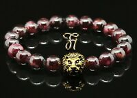 Granat rot - goldfarbener Löwenkopf - Armband Bracelet Perlenarmband 8mm