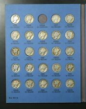1916-1945-PDS MERCURY DIME 76-COIN SET IN WHITMAN 9014 COMPLETE LESS 1916-D #1/2