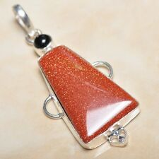 "Handmade Sun Sitara Sparkling Jasper 925 Sterling Silver Pendant 2.5"" #P04027"