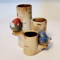 "Ceramic Chickadees Birds Birch Tree Red Blue Love Porcelain Vase Planter 6.5"""