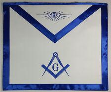 Blue Satin Master Mason Apron Square Compass & G