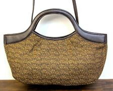 FOSSIL YELLOW BROWN WOOL FABRIC PVC TRIM CLUTCH CONVERTIBLE SHOULDER BAG HANDBAG