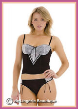 SALE* Sexy Black Corset Basque with White Lace Size 32-36,  B-C cup, By Intimea