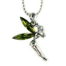 Green w Swarovski Crystal Fairy Tinker Bell Tinkerbell ANGEL Charm Necklace Xmas