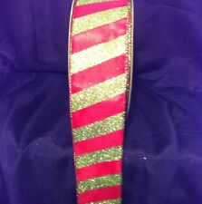 """2.5"""" Ribbon Wired Edge Red W/ Green Glitter Stripe Christmas Ribbon by the Yard"""