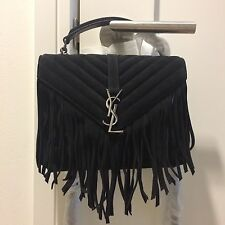 SAINT LAURENT YSL Monogram Black Medium Fringed Suede Shoulder Bag NWT $2450