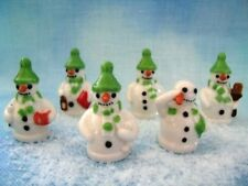 RARE WADE WHIMSIES SNOWMAN WITH GREEN HAT FULL SET, 2009 DISCONTINUED *MINT*
