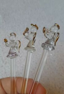 vintage glass cocktail stirring sticks rods swizzles Christmas angels retro