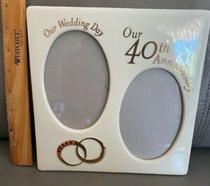 """Russ Berrie """"Our Wedding Day / Our 40th Anniversary"""" Double Photo Frame - New"""