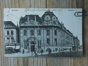 Bremen  Sparkasse  1914 nach Charlottenburg   Original Postkarte