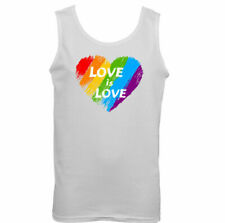 Love is love Mens LGBT Vest Pride Rainbow Colours Top Tee Outfit Clothing