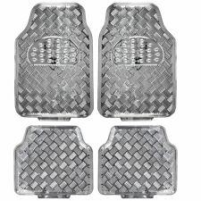 carXS Full Metal Design Car Floor Mats Heavy Duty Metallic 4pc Front Rear Silver