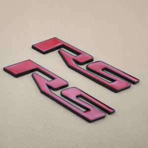 2Pcs Metal RS Letter Black & Red Emblem Car Rear Lid Trunk Badge Sticker Decal