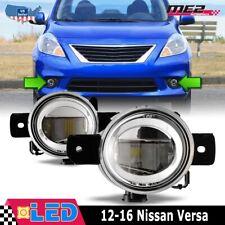 For 12-16 Nissan Versa Factory Fit Fog Light Bumper LED Clear Lens PAIR