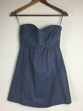 Tibi New York Dress Blue White Pinstripe Strapless Dress Size 0 FLAW