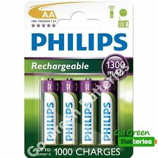 4 x Philips AA 1300 mAh Rechargeable Batteries NiMH LR6, HR6