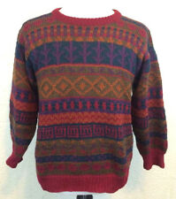 #S3 Lumy Sz M 100% Wool Hand-Knitted Peru Multicolor Geometric Crewneck Sweater