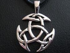 Keltischer Knoten 925'er Silber + Echtlederband Ketten Anhänger  / KA 288