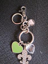 Womens Designer Kathy Van Zeeland Silver Charm Key Chain Ring For Purse NWOT