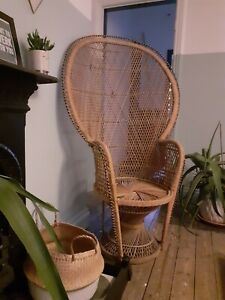 Vintage Wicker peacock chair Emanuelle style circa 1970's