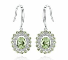 925 Sterling Silver Peridot Drop Dangle White Gold Plated Earrings, Fine Jewelry