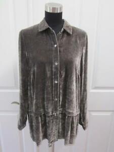 J JILL Pewter Silk Blend Velvet Shirt Jacket w/ Peplum Detailing Sz S