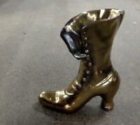 Antique Brass. Antique Ladies Boot Vase.