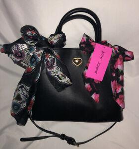 BETSEY JOHNSON Black SATCHEL Handbag SKULL FLORAL Pink Scarf Purse Crossbody NWT