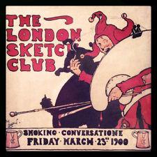 Cecil Aldin Club di Londra Schizzo invitare 1900 FUMARE Jester 5x5 pollici stampa