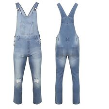 Womens Ladies Ripped Denim Jeans  Overall Jumpsuit Dungaree Size 8 10 12 14 16