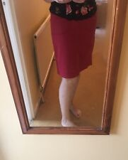 M&S Red 100% Cotton Straight Midi Knee Length Summer Skirt 10/12 Front Pockets