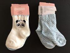 NWT Gymboree Panda Blossom 6-12 Months Panda & Light Blue Polka Dot Socks 2pk