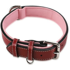 Padded Genuine Leather Dog Collar, Heavy Duty Pet Collars for Large Medium Dogs