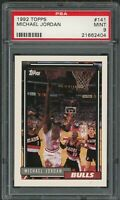 Michael Jordan Chicago Bulls 1992 Topps Basketball Card #141 Graded PSA 9 MINT