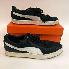 Puma Men's Sz 11.5 Suede Classic Basket Weave Shoes Sneakers Black White EUC