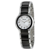 Bulova Women's Quartz Diamond Marker Accents Black Silver 28mm Watch 98P127