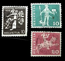1939 Switzerland Stamps 257 383 & 385! Used! French tree and crossbow 10c