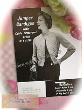 Vintage 1950s Knitting Pattern Lady's Cable Cross-Over Front Cardigan. 3 Sizes