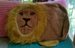 "Vintage LION pillow SHAM fine furry fellow Big Orange Eyes jungle safari zoo 24"""