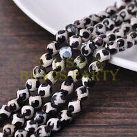 1 Strand 39cm Length 46~48pcs 8mm Natural Stone Gemstone Craft Beads Black