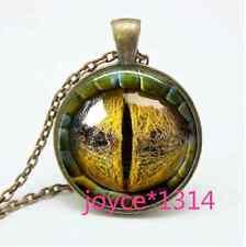 Vintage dragon eyes Cabochon bronze Glass Chain Pendant Necklace #760
