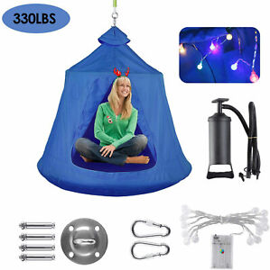 Kids Hanging Tree Tent Outdoor Swing Play Hammock with LED Light Blue Backyard