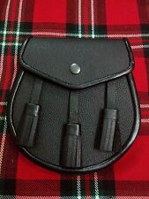 T.C demi robe noire KILT SPORRAN cuir / cuir uni Demi Robe Kilt escarcelle